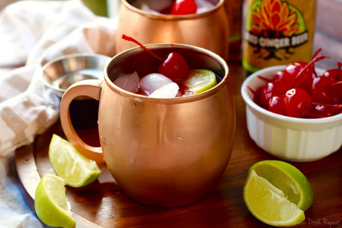 These Cherry Moscow Mules are simple to make but are a great twist on the best Moscow Mule recipe!