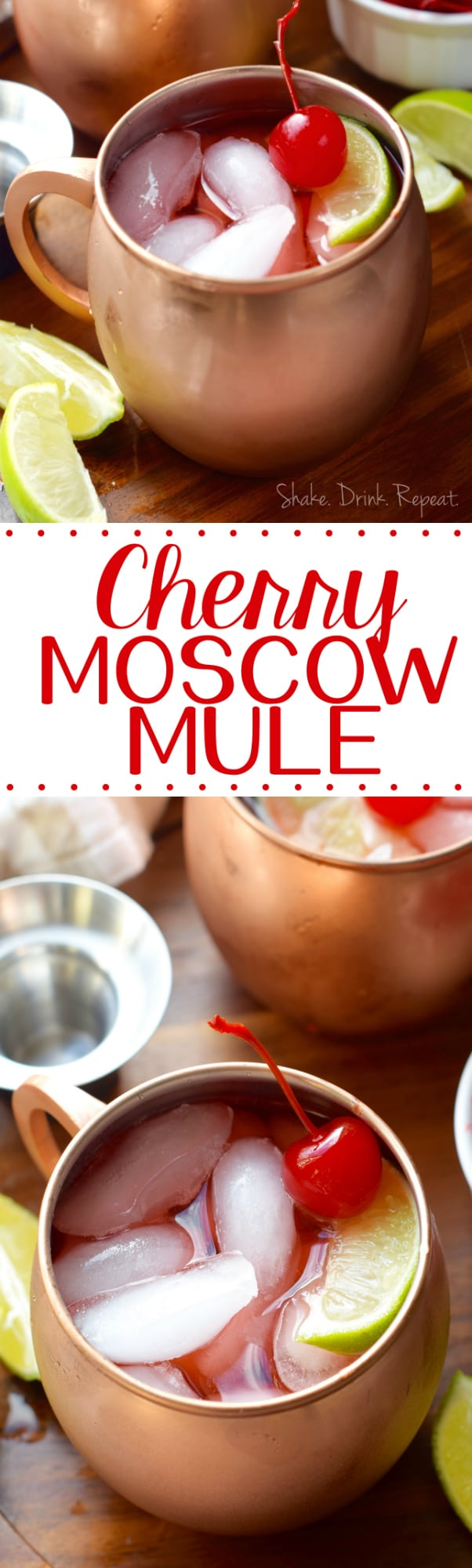 This Cherry Moscow Mule Recipe is such a delicious fun twist on the classic.  Made with easy to find ingredients, vodka, grenadine, ginger beer, and lime juice, this will be your new favorite party cocktail.