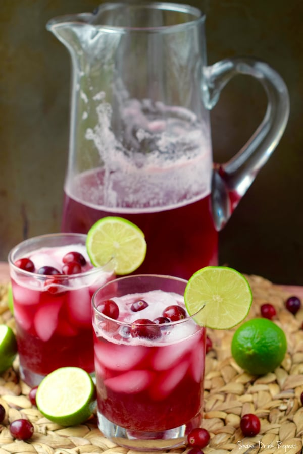 Make a whole pitcher of these cranberry beergaritas for your party!