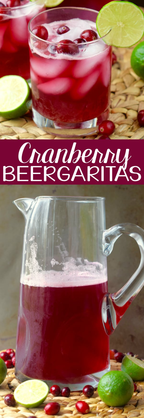 These Cranberry Beergaritas are the perfect holiday solution!  They are only five ingredients come together in just five minutes!