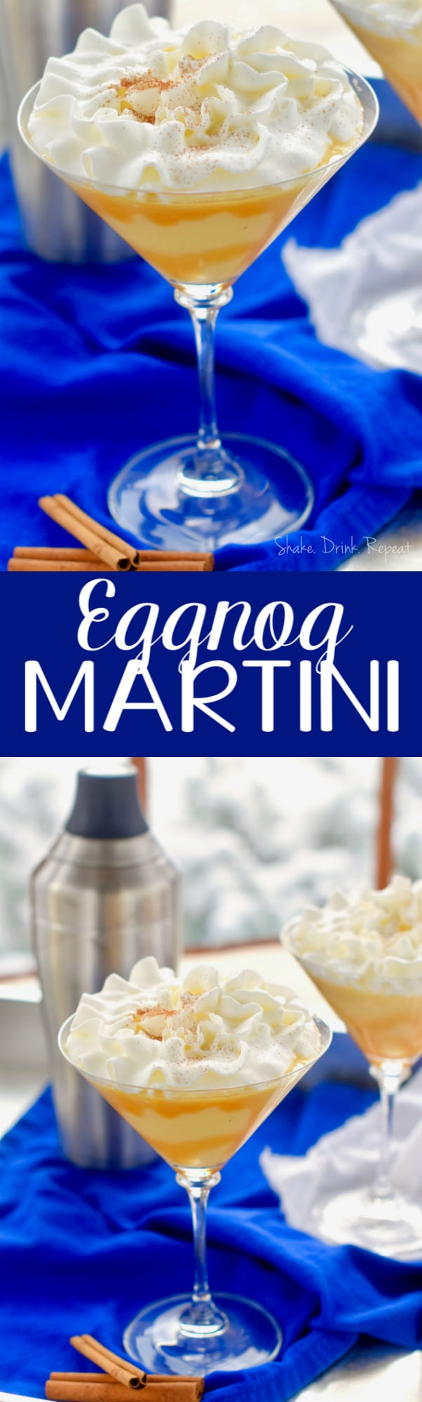 This Eggnog Martini is the perfect holiday drink!  This cocktail will make your Christmas merry!
