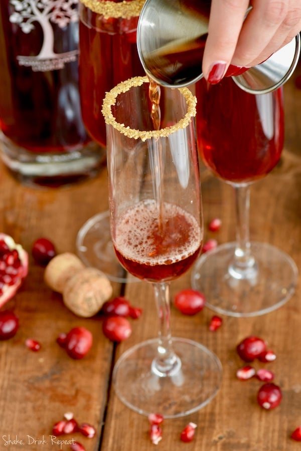This cocktail recipe is perfect! Everyone loves a cranberry pomegranate champagne cocktail!
