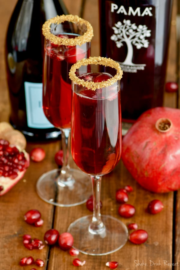 Holiday guests will love this easy cranberry pomegranate champagne cocktail recipe