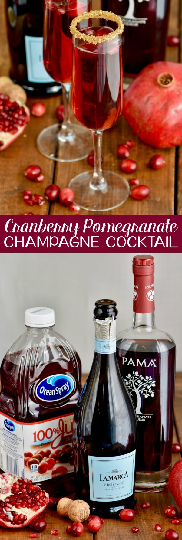 This Cranberry Pomegranate Champagne Cocktail is the perfect drink for your holiday party!  Make one for yourself or make a whole batch for a party!