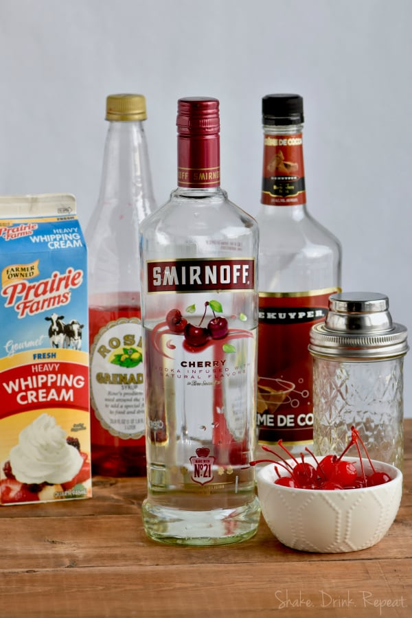 Only four easy ingredients for this Chocolate Covered Cherry Martini recipe!