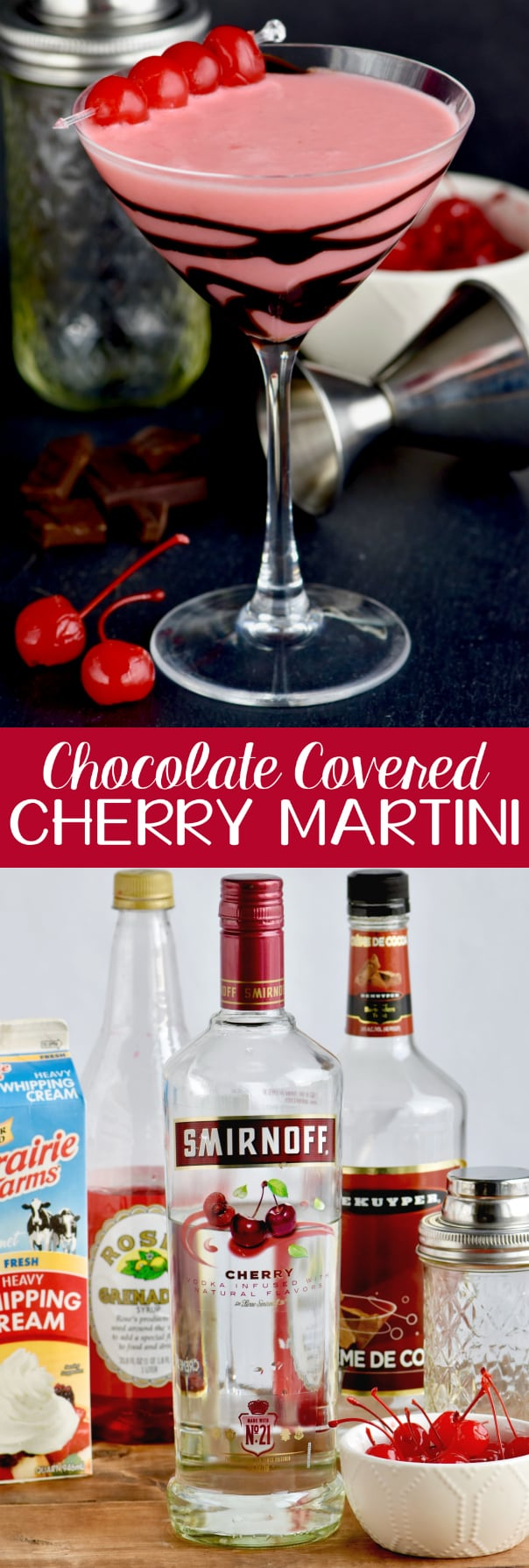 This Chocolate Covered Cherry Martini recipe is like dessert in a glass! Made with cherry vodka, this drink comes together in minutes!