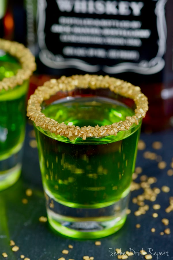 These Lucky Leprechaun Shots start with some whiskey and are the perfect cocktail for St. Patrick's Day!