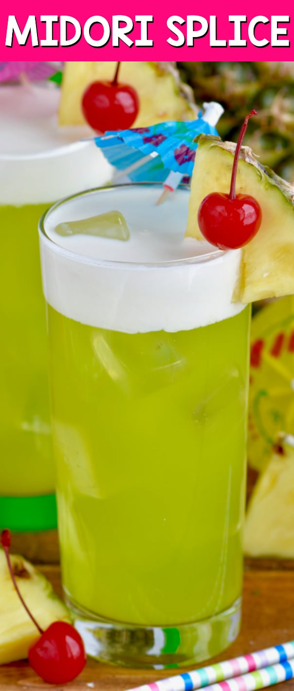 This Midori Splice cocktail is the perfect tropical drink made with just four ingredients!