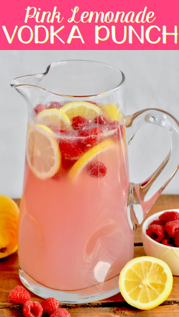 This Pink Lemonade Vodka Punch recipe is only three ingredients!! It is so easy and perfect for a party!