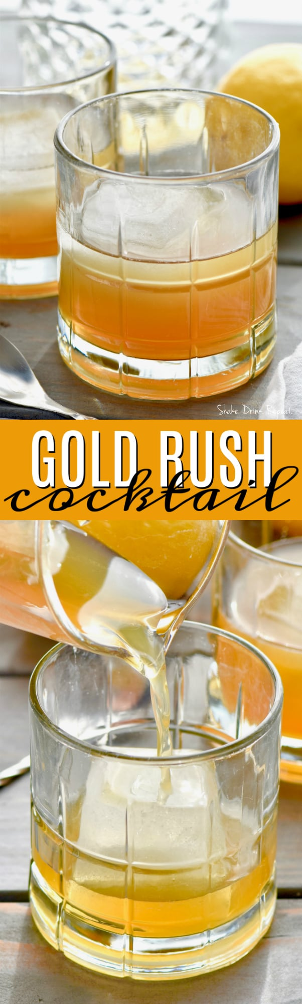 two images of a gold rush cocktail