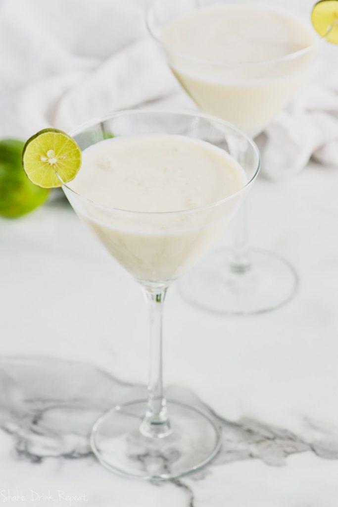 key lime martini in martini glass