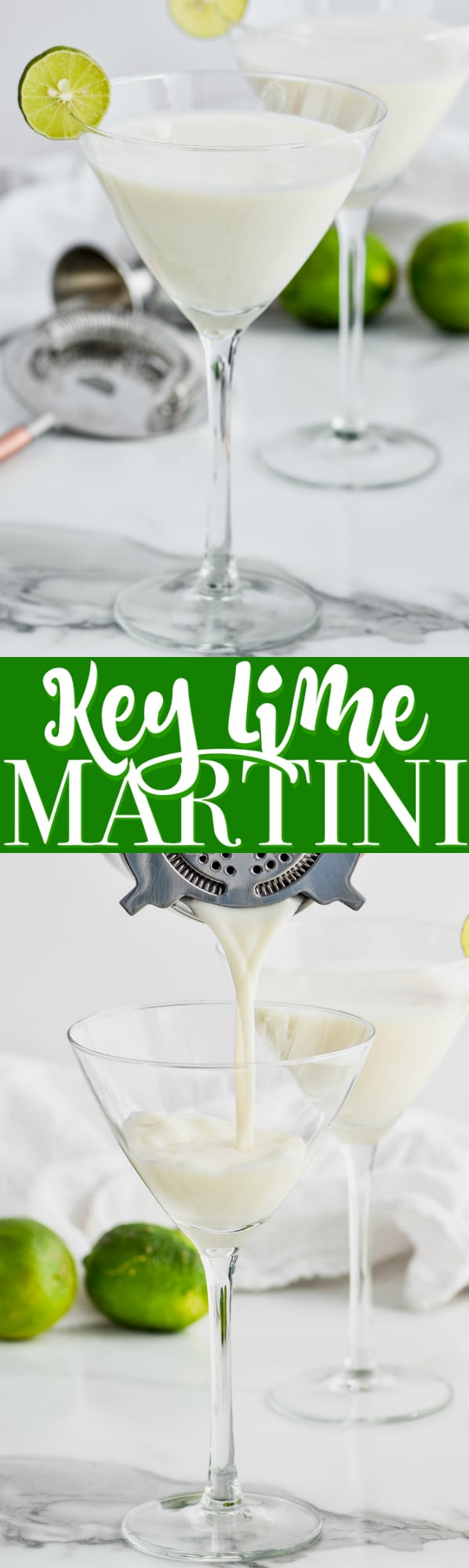 key lime martini in martini glass