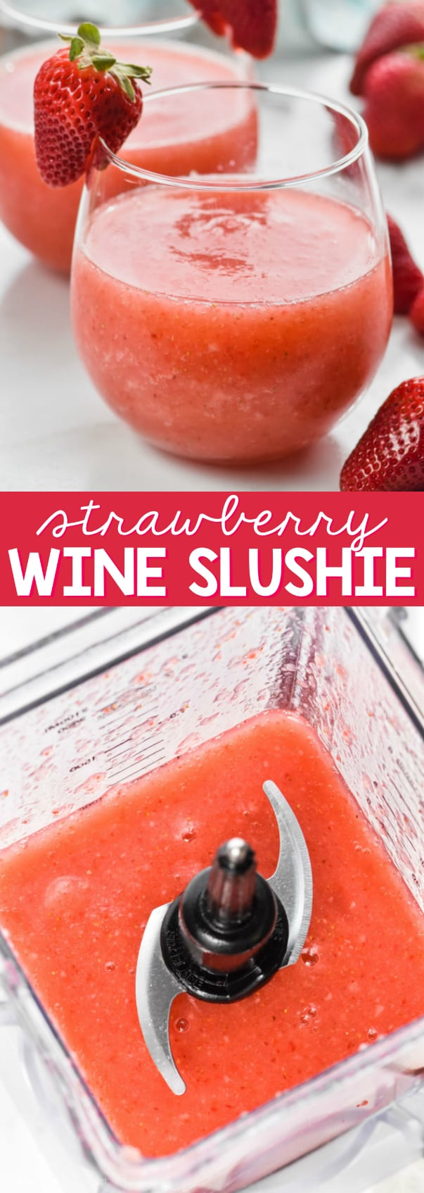 glass of strawberry wine slushie