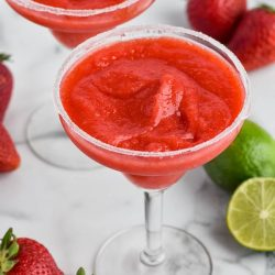 overhead view of strawberry margarita in a glass