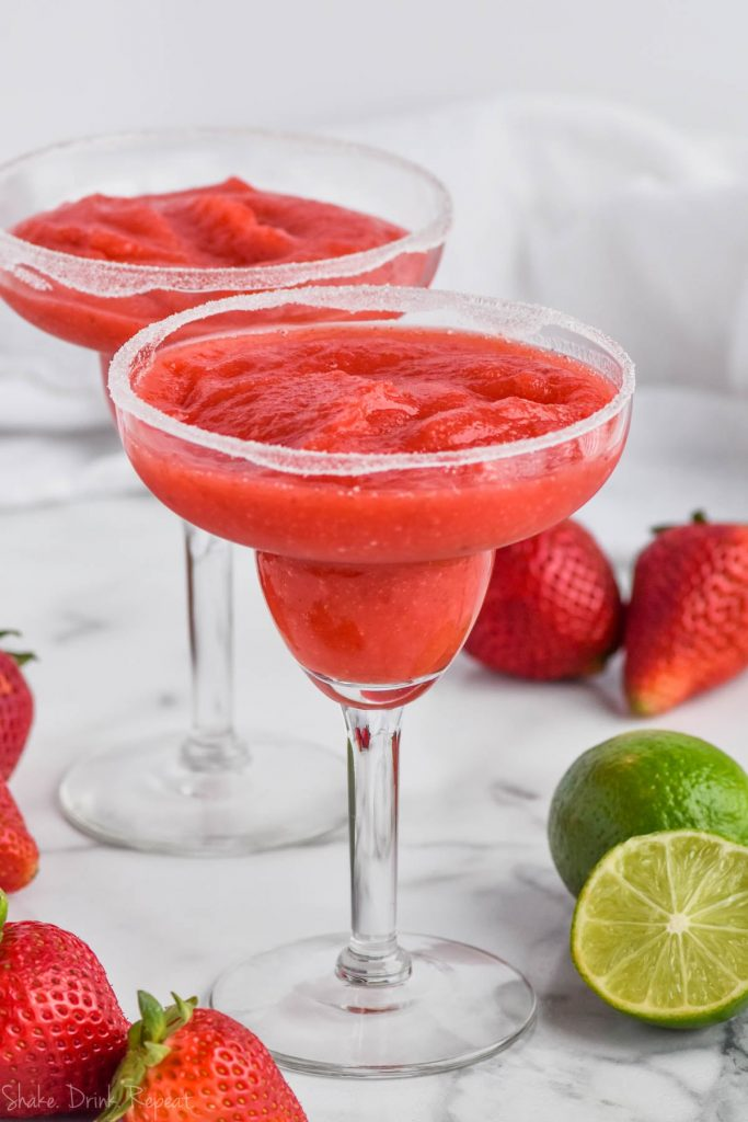 two glasses of strawberry margarita recipe