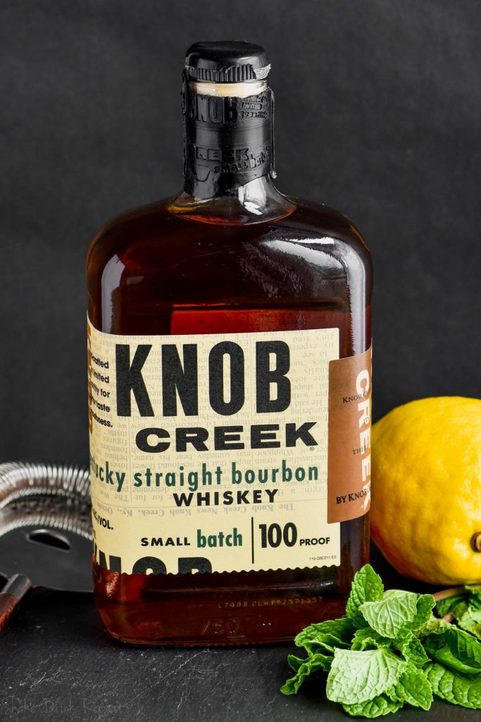 a bottle of knob creek for a whiskey smash recipe