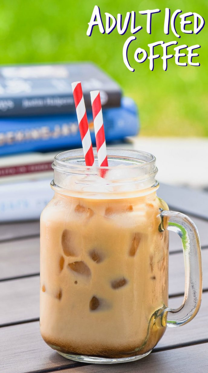 iced coffee recipe with vodka outside on a picnic table