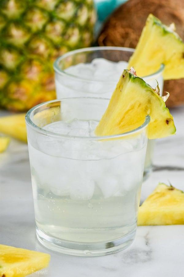 up close glass of low calorie pina colada vodka soda