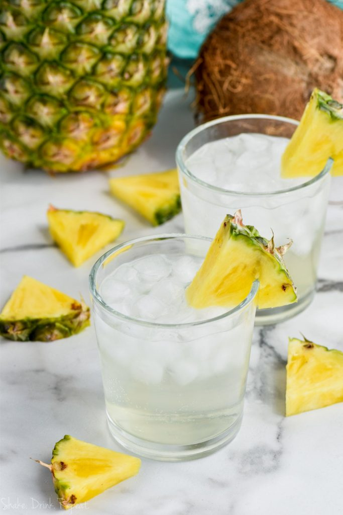 two glasses of pina colada low calorie vodka soda