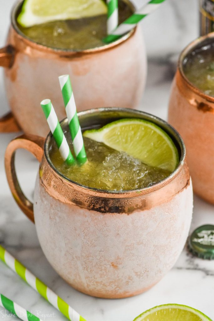 frosted copper mug with moscow mule slush