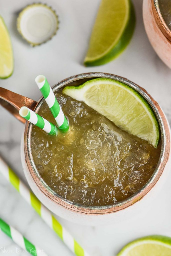 overhead view of moscow mule slush in copper mug
