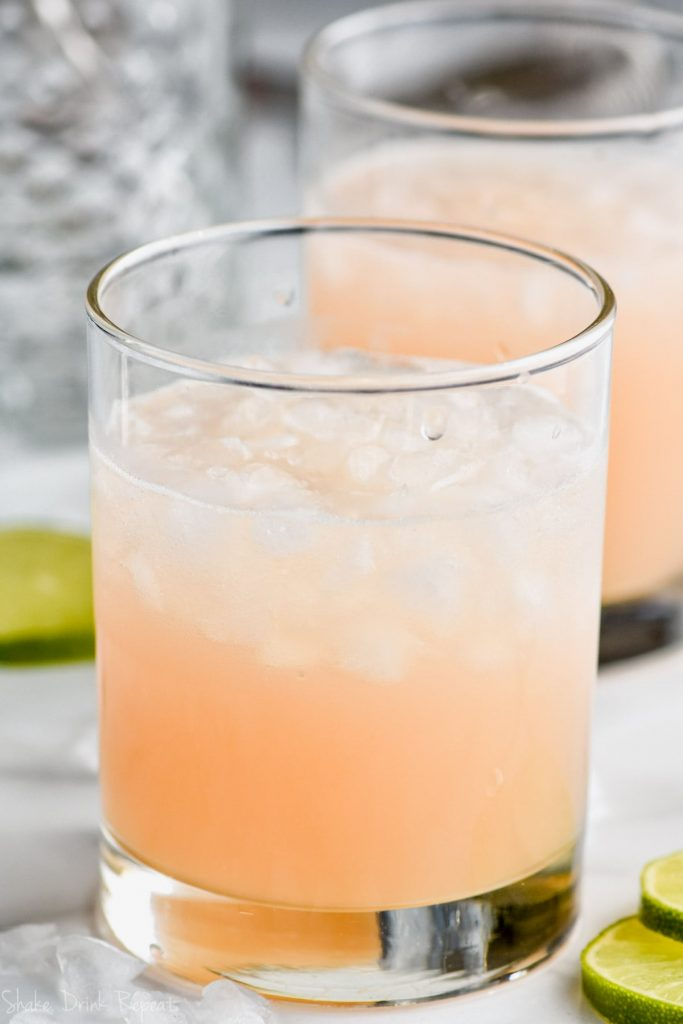 side view of pink paloma cocktail recipe