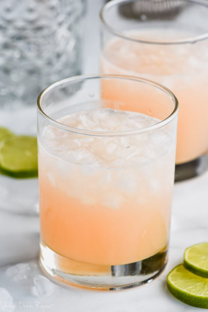 side view of pink paloma drink recipe
