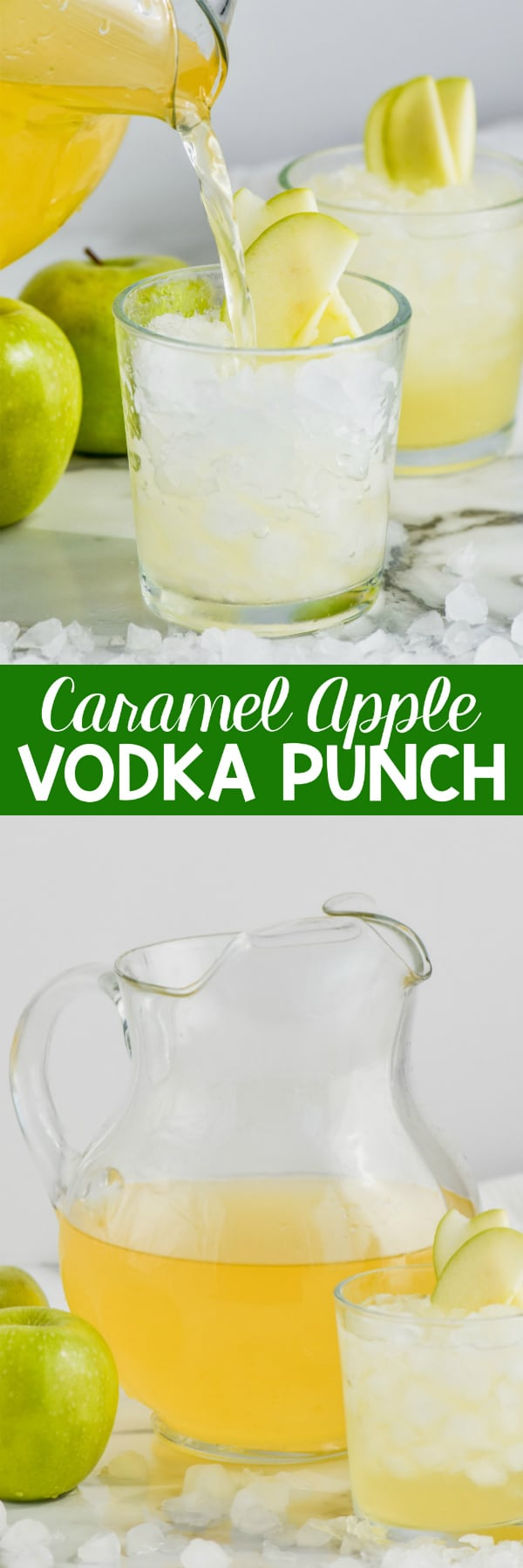 caramel apple vodka punch being poured into a glass of ice garnished with sliced apples