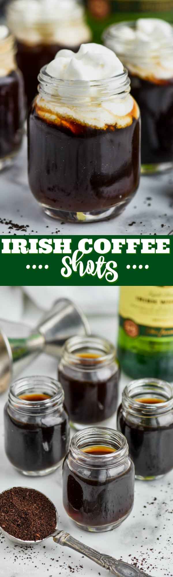 shot glass filled with irish coffee and topped with whipped cream