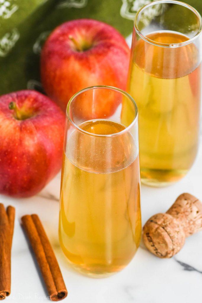 overhead view of bellini cocktail, apple pie bellini recipe