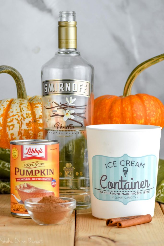 ingredients for a boozy pumpkin milkshake