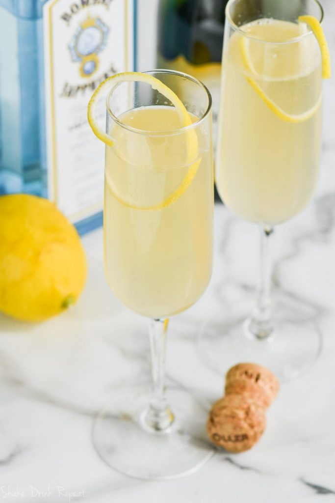 overhead view of champagne glass of french 75 drink