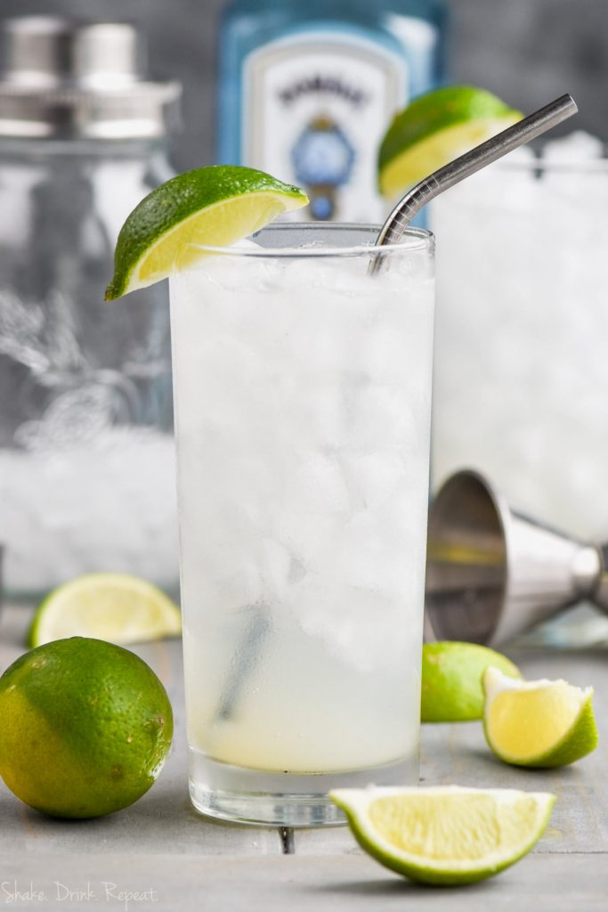 gin rickey cocktail recipe with metal straw and ingredients in the background