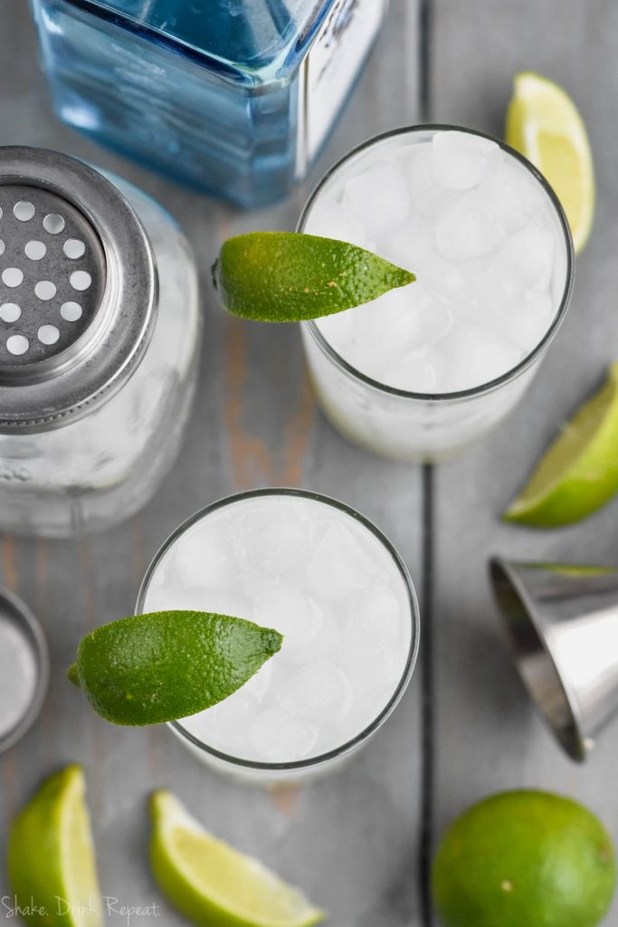 overhead view of how to make a gin rickey recipe