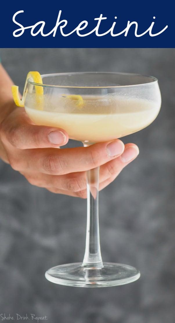 woman holding a glass full of saketini recipe