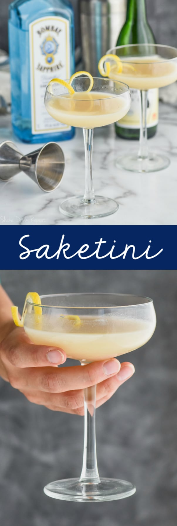 glass with saketini cocktail recipe in front of a bottle of gin and a bottle of sake