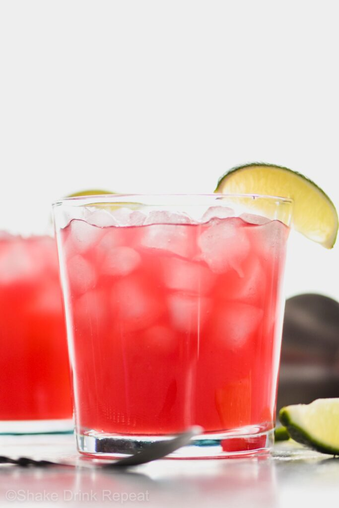 Picture of Two Sea Breeze Drinks in a glass garnished with a lime