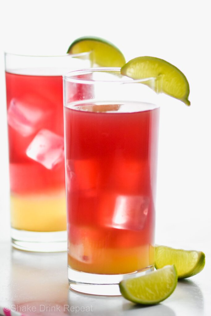 Bay Breeze in a glasses with lime slices and ice