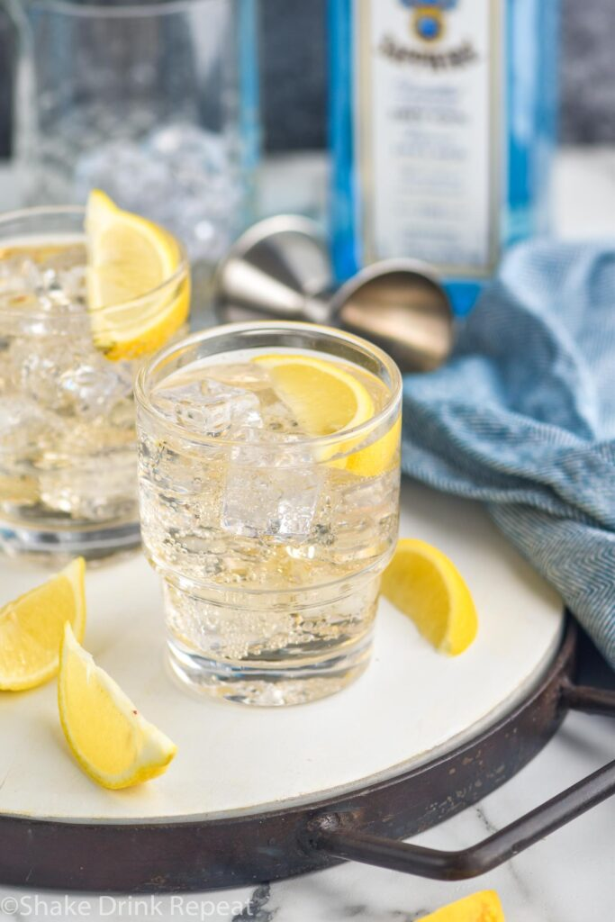 two glasses of gin and ginger ale ingredients with ice and lemon