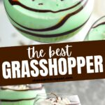 Grasshopper drink in glass with whipped cream and chocolate