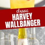 ingredients for Harvey Wallbanger recipe with titos vodka, Galliano and orange juice