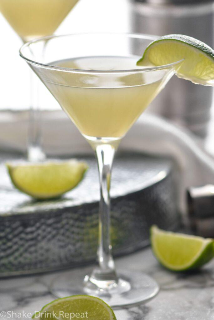 martini glass of Kamikaze Drink with lime wedge garnish