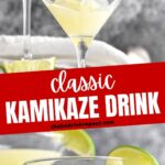 Kamikaze Drink being poured into martini glass with lime wedge garnish