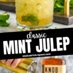 glass of mint julep with shaved ice, bourbon and fresh mint leaves