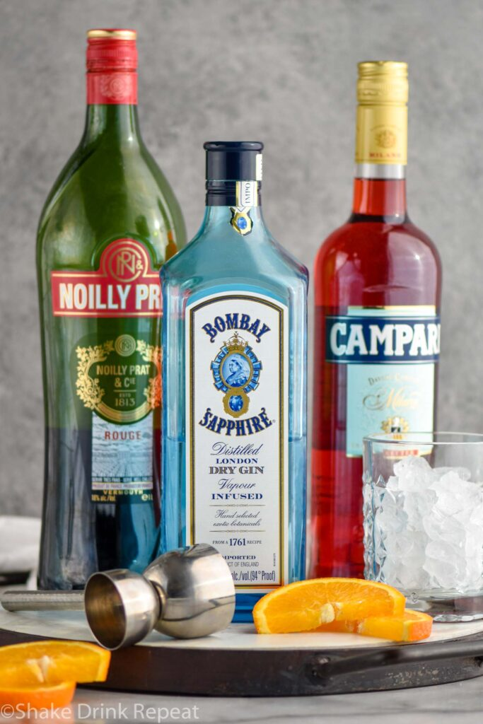 Negroni cocktail ingredients gin, Campari and sweet red vermouth