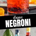 glass of Negroni cocktail with ingredients gin, sweet red vermouth, campari with orange twist