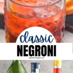 classic Negroni cocktail ingredients gin, campari, sweet red vermouth in a glass with ice and orange twist