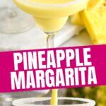 glasses of pineapple margarita with salted rim