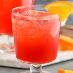 two glasses sloe gin fizz with orange slice garnish