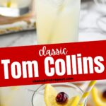 glass of tom collins with ice, lemon and cherry garnish